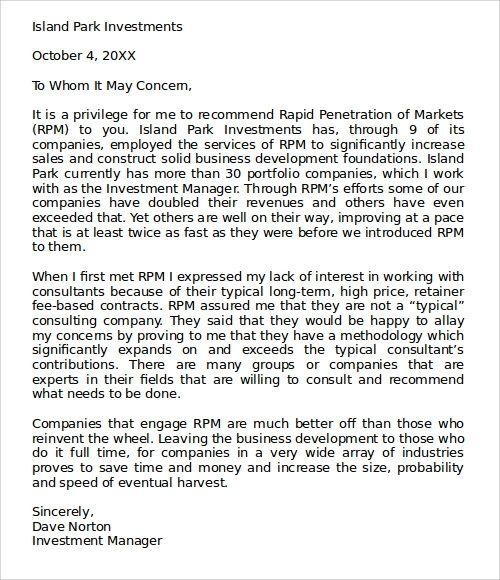 college recommendation letter examples