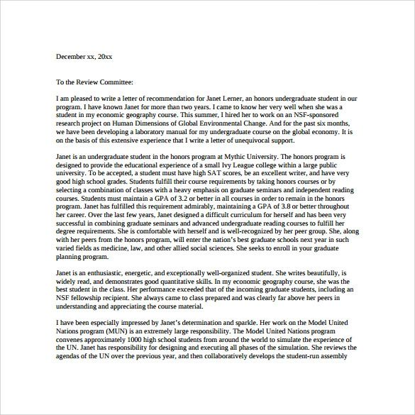 graduate school letter of recommendation template