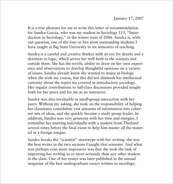 teacher letter of recommendation for student
