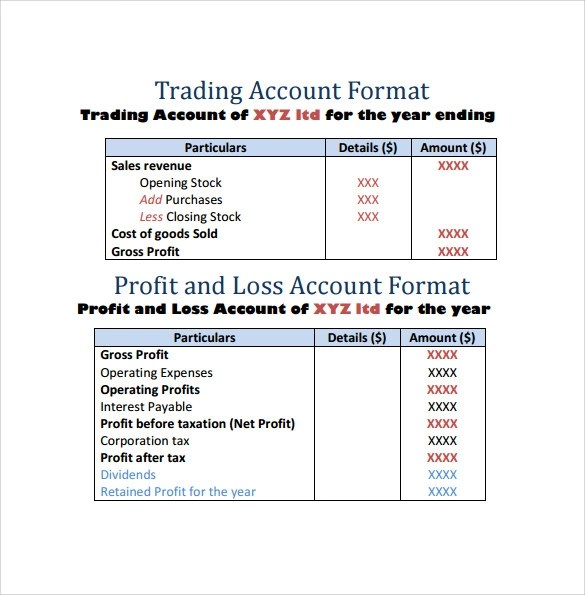 Profit And Loss Template 20 Download Free Documents In Pdf Word