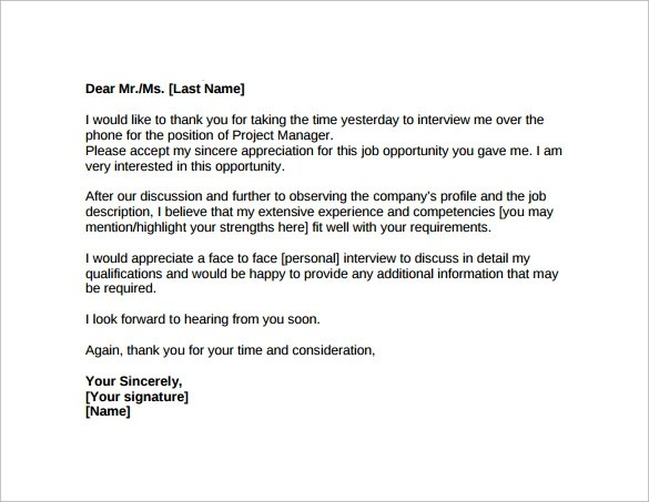 Thank You Letter After Job Interview 15 Download Free