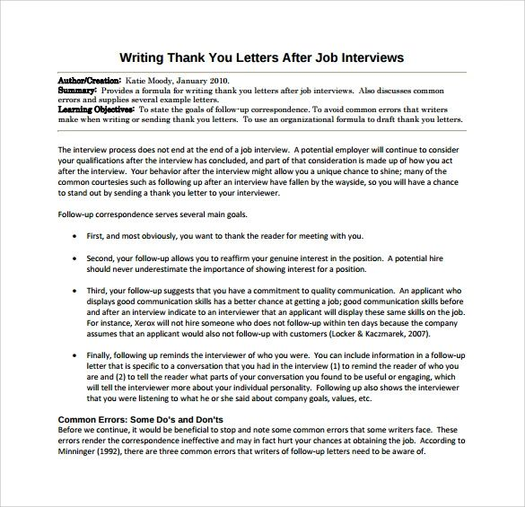 thank you letter after an interview template