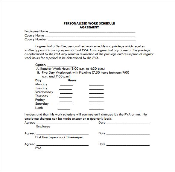 employee schedule format