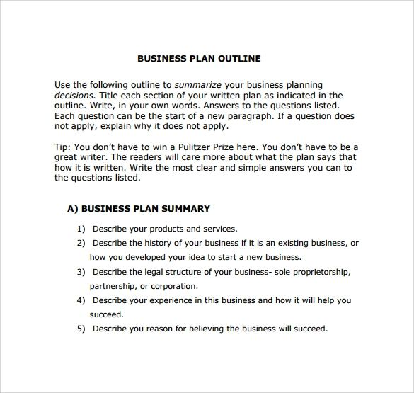 simple business plan outline