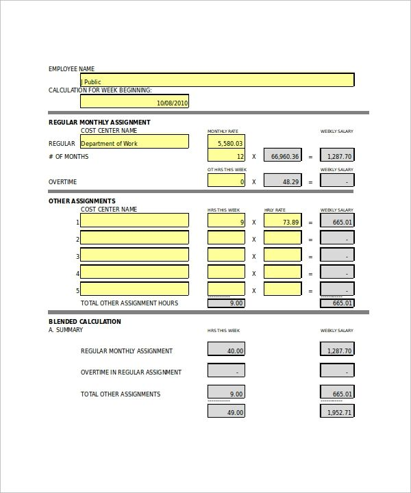 excel overtime template