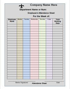 Employee attendance sheet also templates pdf word excel rh sampletemplates