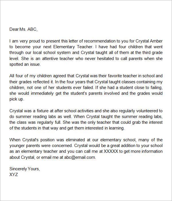 email asking teacher recommendation letter