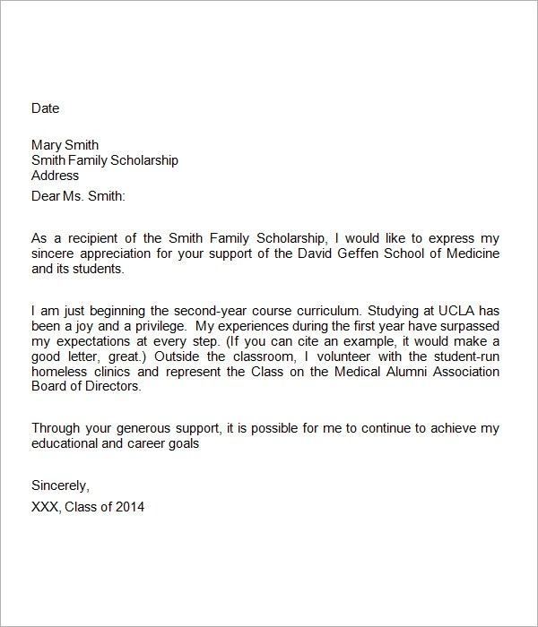 Thank You Letter For Financial Support | Docoments Ojazlink