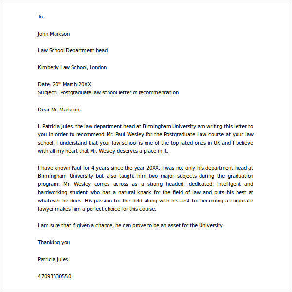 38 Sample Letters Of Recommendation For Graduate School