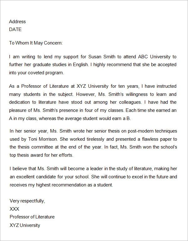 letter of recommendation from professor for masters degree