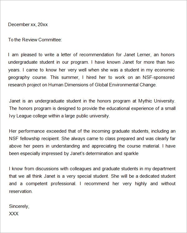 Letters Of Recommendation For Graduate School 15