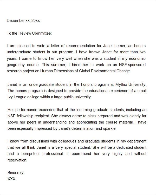 sample letter of recommendation for masters program from employer