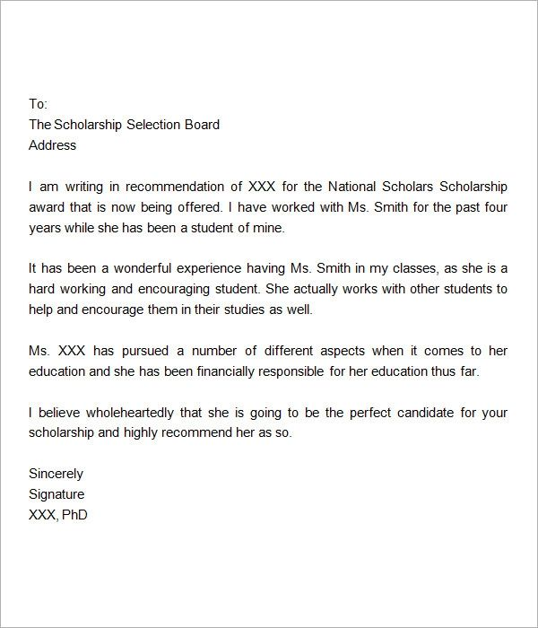 letters of recommendation for scholarships from employer