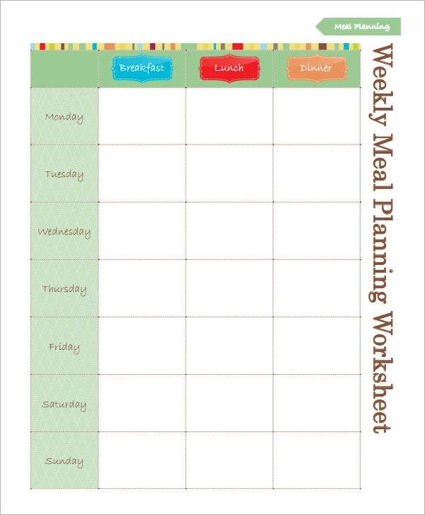 weekly meal plan worksheet