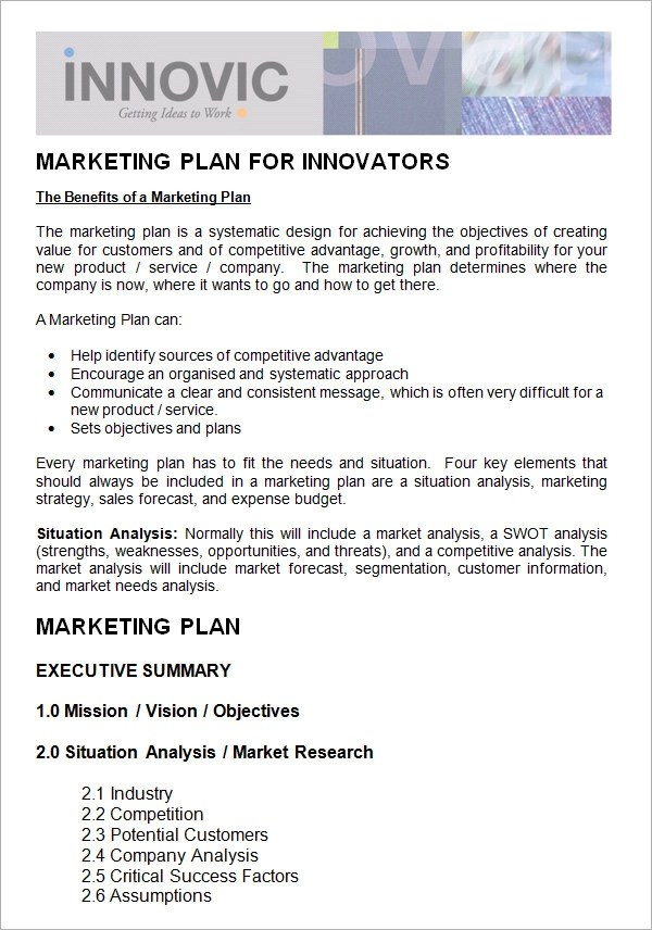 9 Marketing Plan Templates