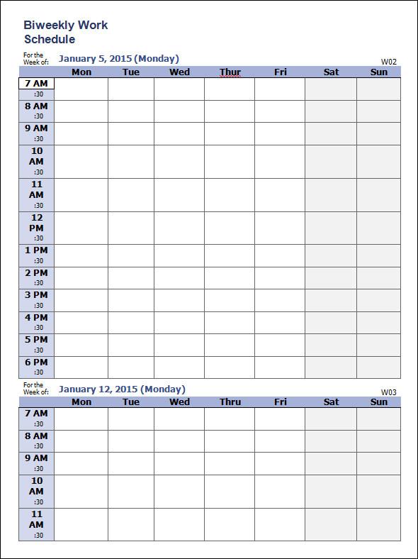 google docs template weekly schedule
