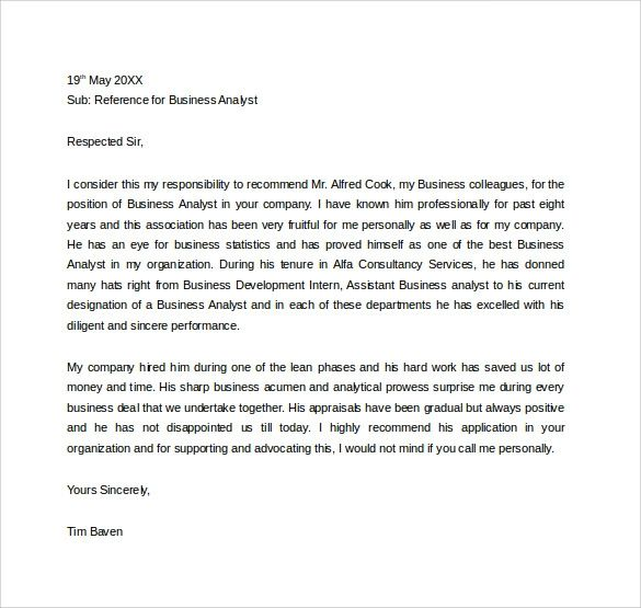 business analyst letter of recommendation