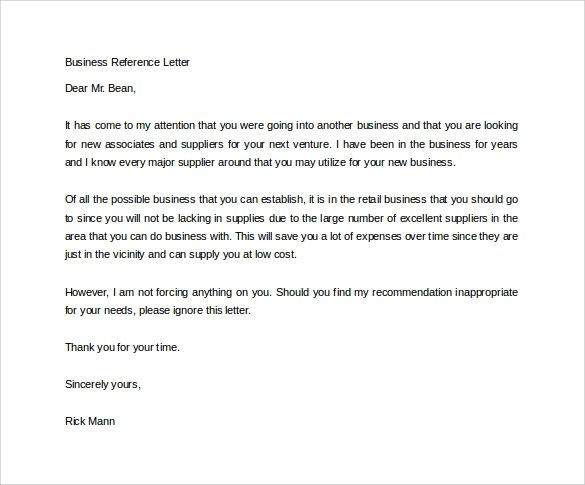 14+ Free Business Reference Letters