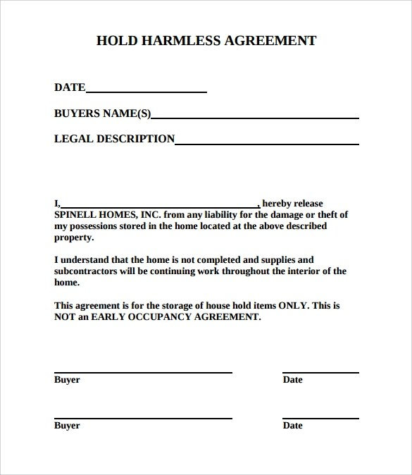 Contractor Hold Harmless Agreement Template