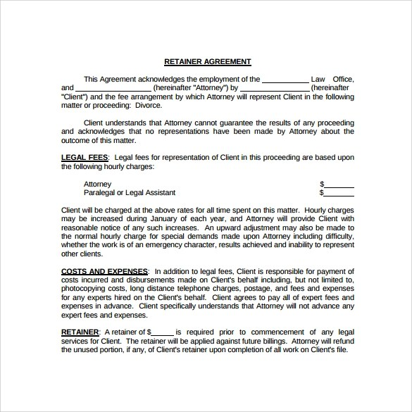 Retainer Agreement 10 Download Documents In PDF Google