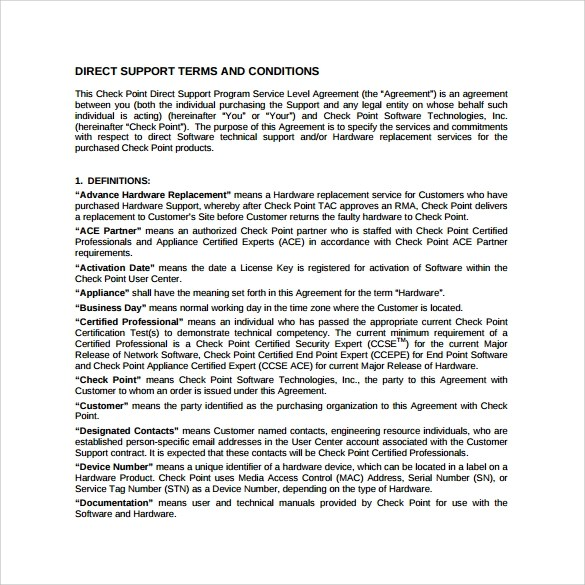 14 Sample Service Level Agreement Templates PDF Word Pages Sample Templates