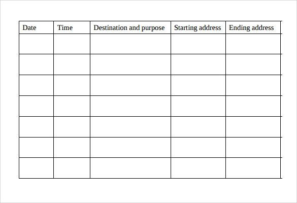 printable mileage sheets