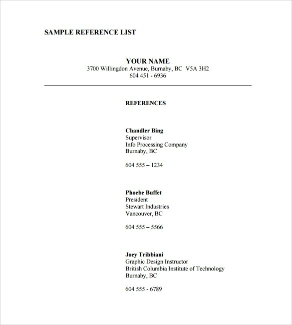 Reference List Template  9 Download Documents in PDF  Word