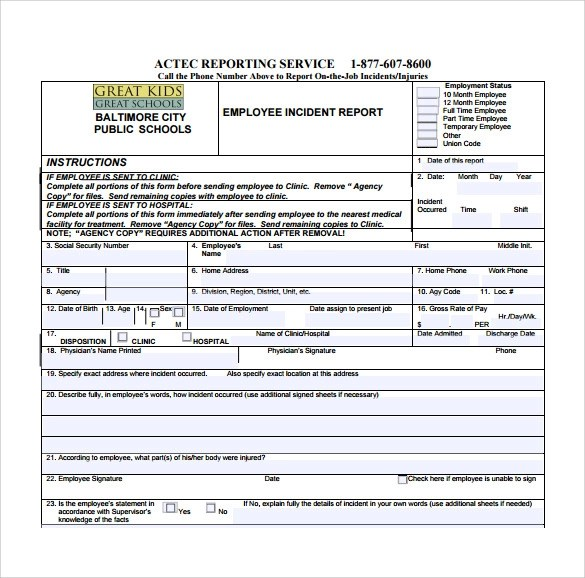 free incident report template word