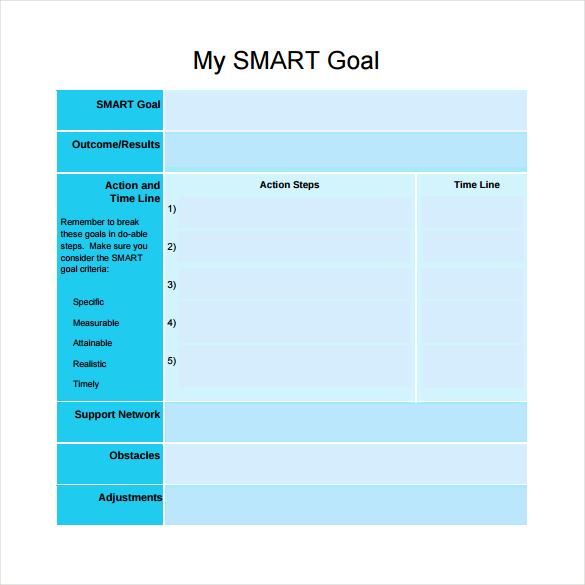 Smart Goals Form Template