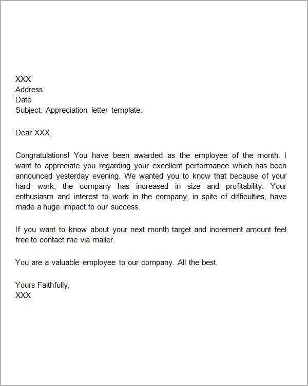 appreciation letter templates