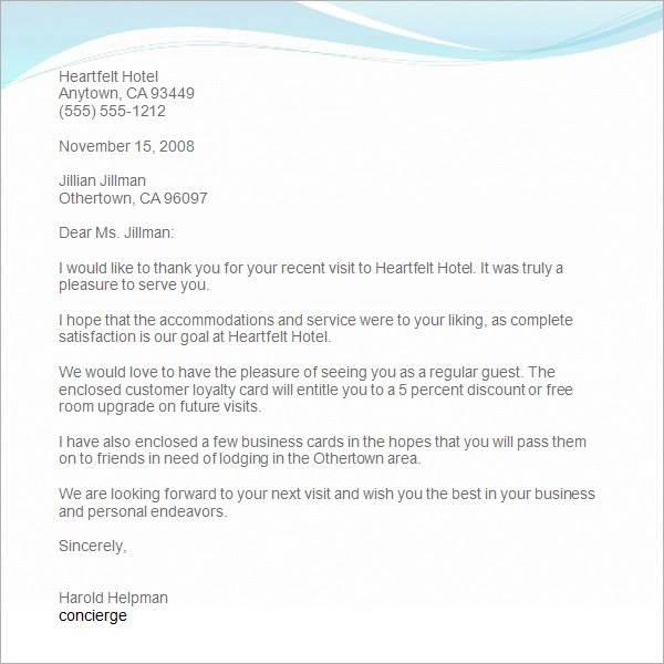 10 Thank You Letters Format