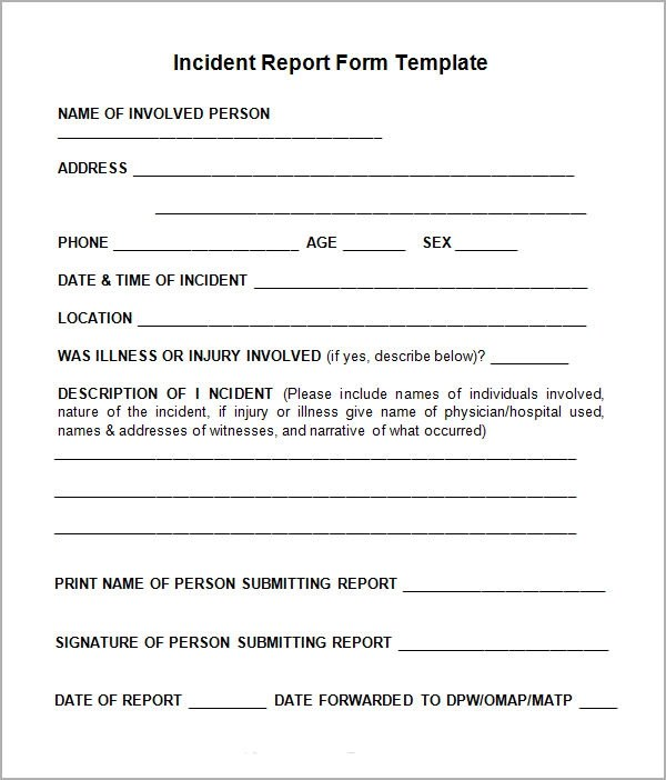 Incident Report Templates Simple Incident Report Template Incident Report  All Form Templates