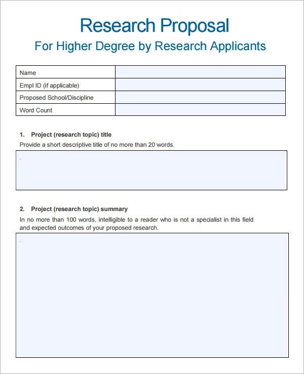 Sample Research Proposal Template 10 Free Documents Download
