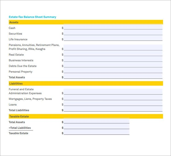 6+ Sample Balance Sheets | Sample Templates