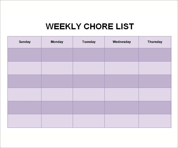chore list for adults