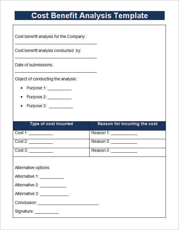 18 Cost Benefit Analysis Templates Sample Templates