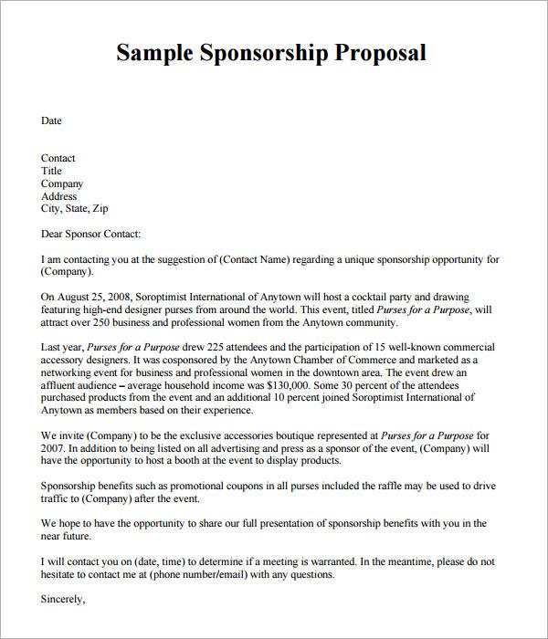19+ Sample Sponsorship Proposal Templates  Sample Templates