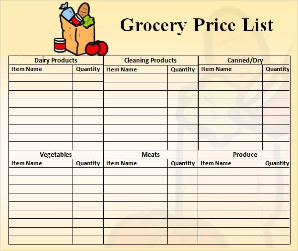 sample grocery list with prices