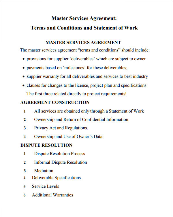 15 Sample Master Service Agreement Templates Sample
