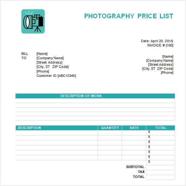 price list template word