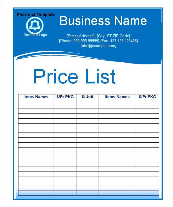 6+ Sample Price List Templates  Sample Templates