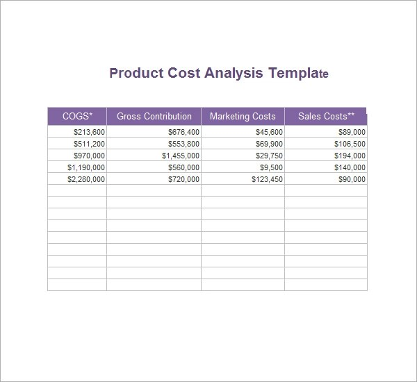 Cost Analysis Template 8 Download Free Documents In PDF
