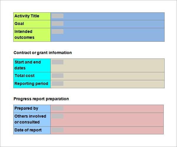 Progress Report Template Download By SizeHandphone Project