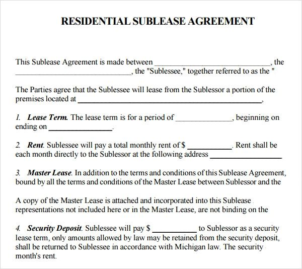 apartment rental contract template download