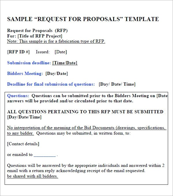 15 Sample Free Request For Proposal Templates Sample