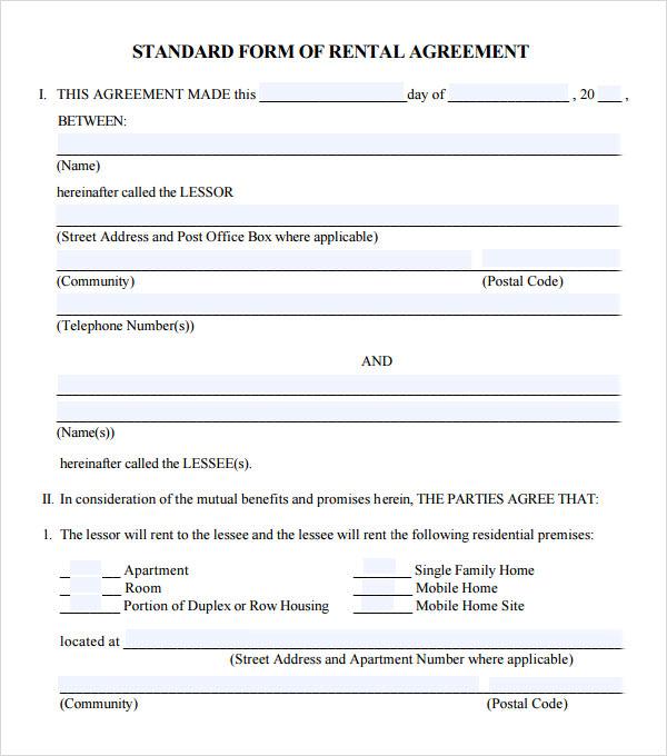 equipment rental agreement template free