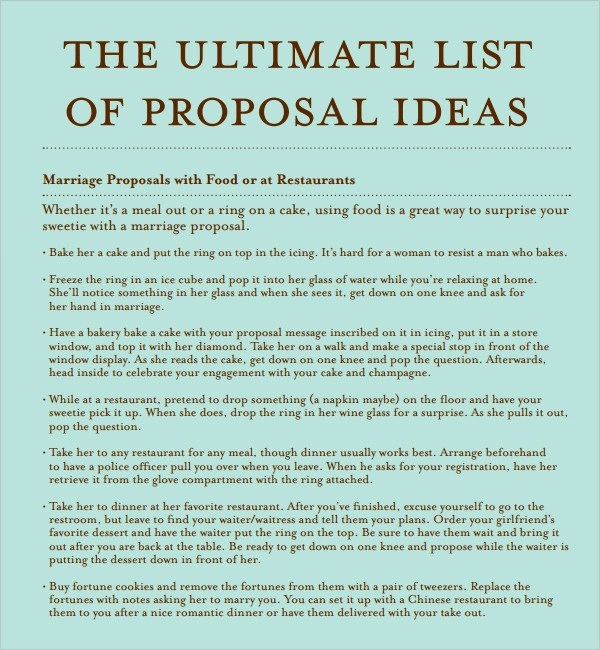 Sample Marriage Proposal Template 15 Documents In PDF