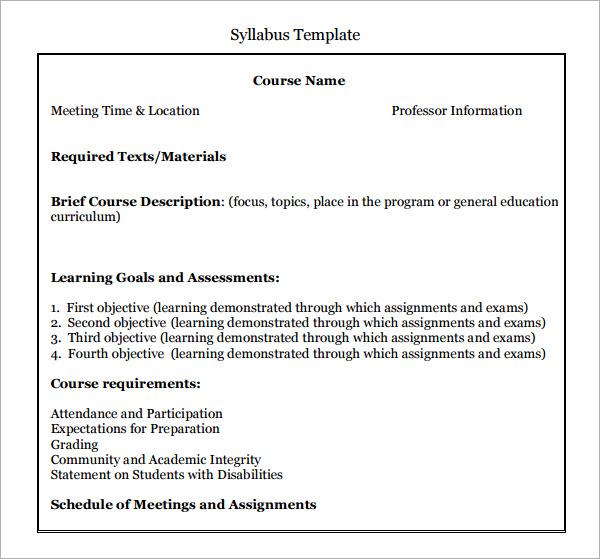 6 Syllabus Templates PDF Doc