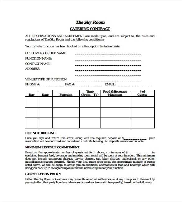 Catering Contract Template 9 Download Free Documents In