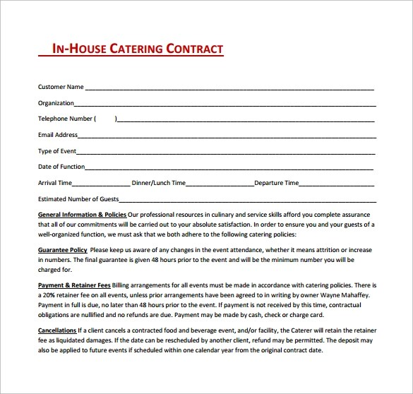 13 Sample Catering Contract Templates PDF Word Apple